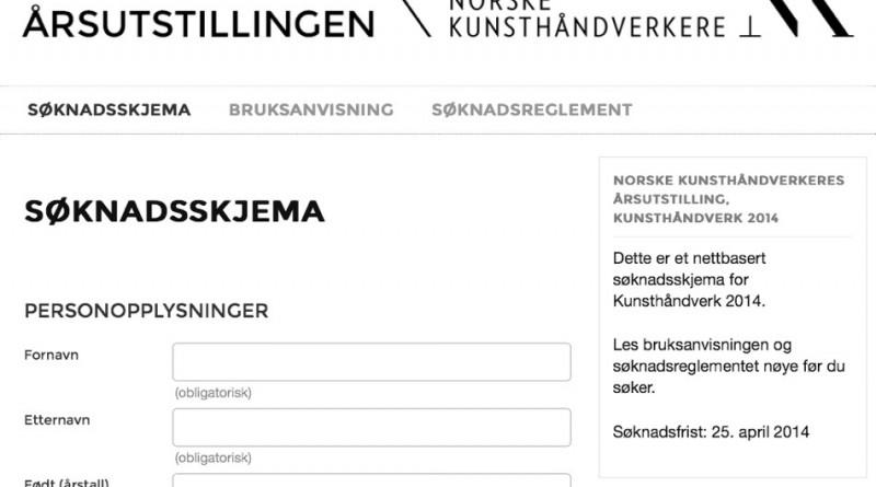 Søknadsskjema for Østlandsutstillingen og Norske Kunsthåndverkere