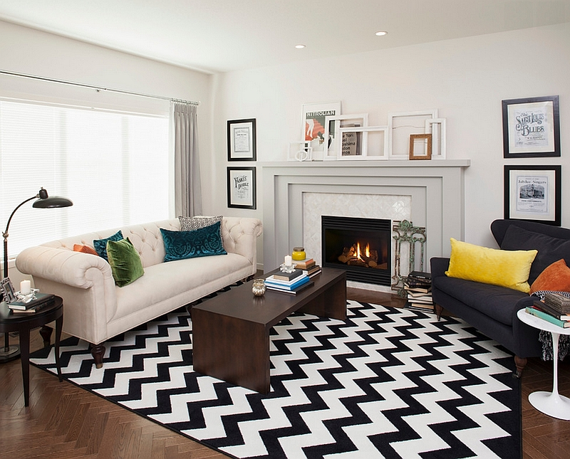 Transitional-living-room-with-a-chevron-pattern-rug